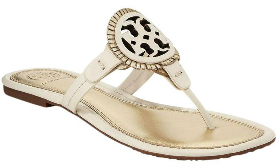 6008a6e0d7db Tory Burch Bleach and Spark Gold Miller Fringe Leather Sandals Size ...