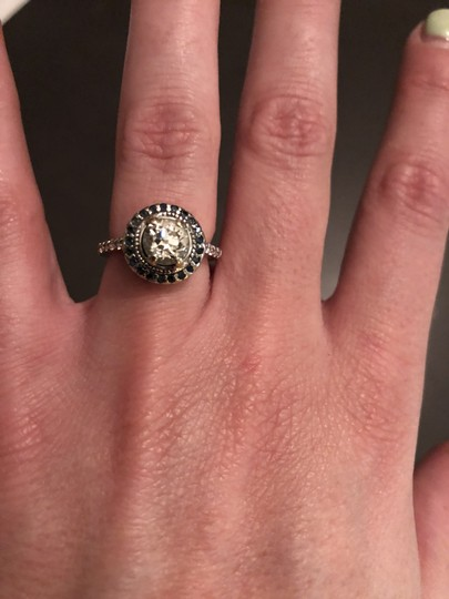 Diamond with Sapphires Old European Cut Blue Surround Engagement Ring
