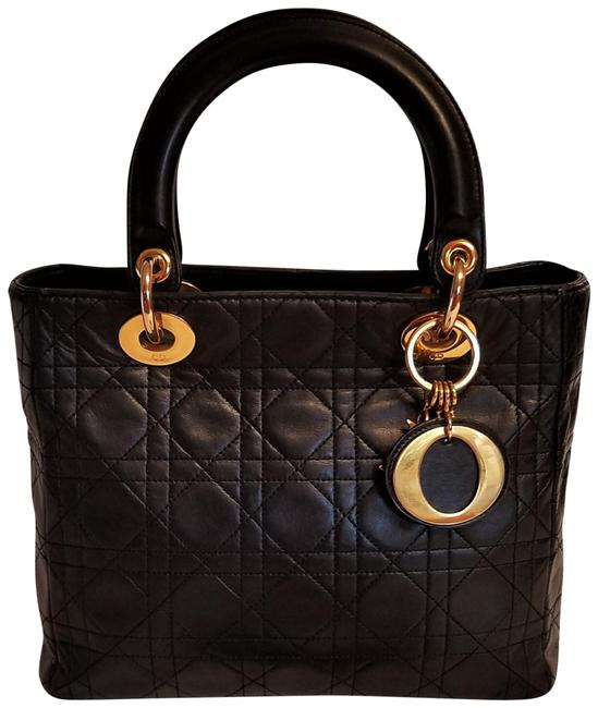 Item - Lady Cannage 2-way Quilted Black Lambskin Leather Shoulder Bag