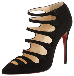 Christian Louboutin Bootie Strappy Suede Stiletto BLACK Pumps