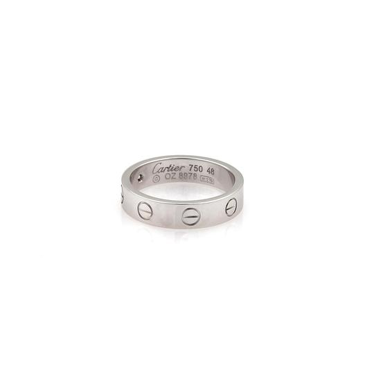 Cartier Mini Love 1 Diamond 18k White Gold 4mm Band Ring Size 48-US 4.25 Cert