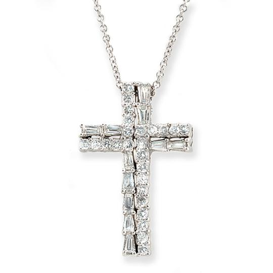 Preload https://item3.tradesy.com/images/18k-white-gold-083-ct-round-and-baguette-diamonds-cross-necklace-23334637-0-0.jpg?width=440&height=440