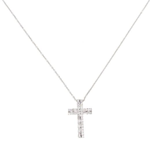 Unbranded 18K White Gold 0.83 CT Round & Baguette Diamonds Cross Necklace