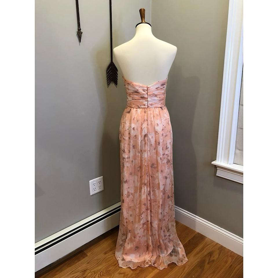 5f38c66983 Amsale Pink Blush Shell Peach Chiffon Strapless Sweetheart Gown In Long  Formal Dress Size 12 (L) - Tradesy