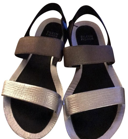 Preload https://item3.tradesy.com/images/eileen-fisher-black-silver-and-charcoal-sandals-size-us-9-regular-m-b-23334692-0-1.jpg?width=440&height=440