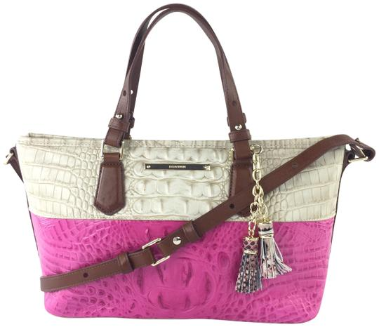 Preload https://item2.tradesy.com/images/brahmin-mini-asher-creamraspberry-leather-tote-23334791-0-3.jpg?width=440&height=440