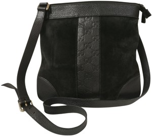 Gucci Leather Suede Monogram Cross Body Bag