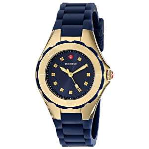 65d912a8d Michele Petite Tahitian Jelly Bean Gold Tone Navy Watch