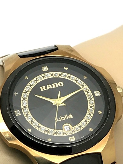 Rado Rado Jubile Black Tungsten Gold Tone Stainless Steel Swiss Watch