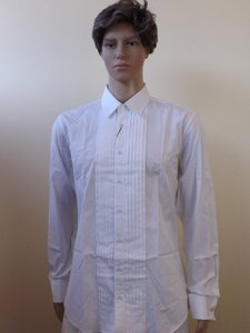 Gucci White Cotton Slim Fit French Cuff Tuxedo 16.5 42 376056 Shirt