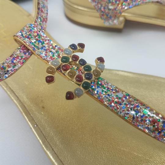 Chanel Camellia Interlocking Cc Crystal Paris-dubai Gold Hardware Pink, Red, Blue, Silver, Multicolor Sandals