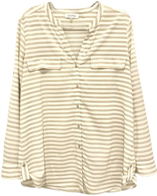 Preload https://img-static.tradesy.com/item/23335066/calvin-klein-sand-and-ivory-silky-striped-casual-button-through-blouse-size-12-l-0-1-650-650.jpg