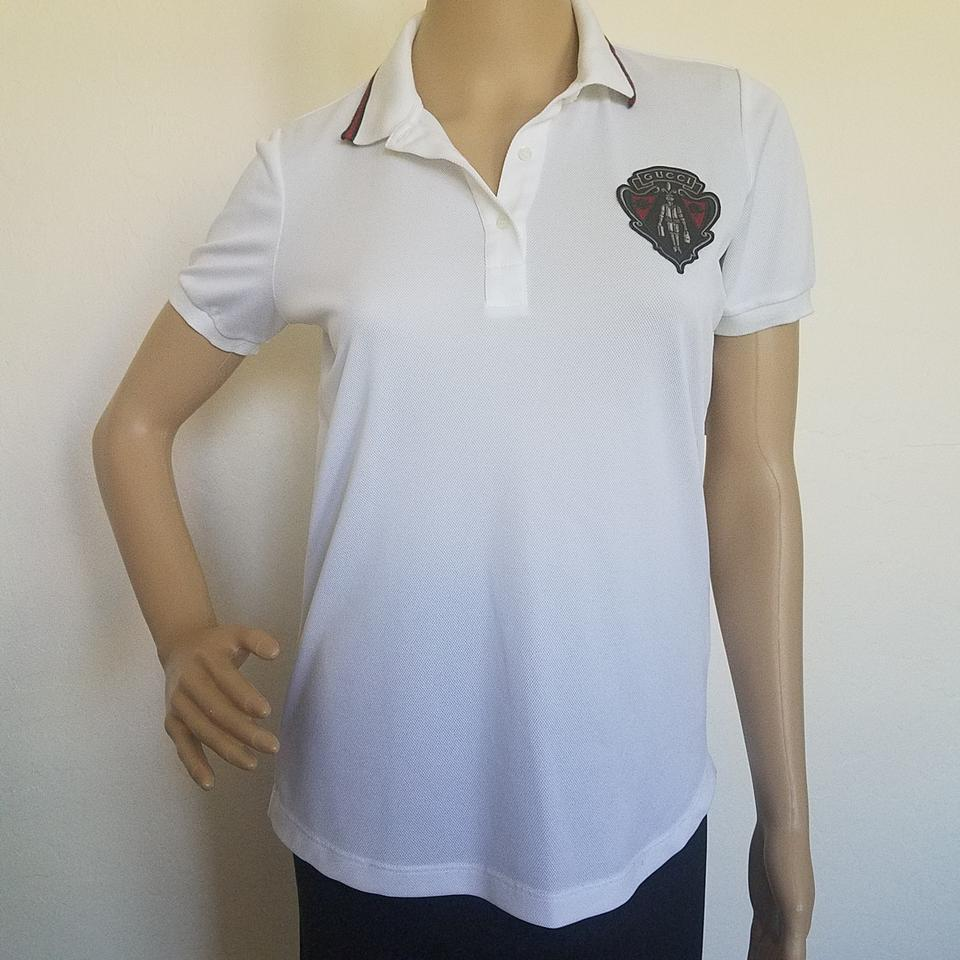 c199ded115c22 Gucci White Red Black Ivory Equestrian Logo Printed Polo Blouse. Size  4 (S)  ...