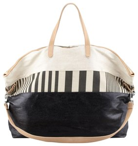 Kelsi Dagger Leather Canvas Fabric Tote in natural