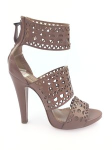 ALAÏA Ankle Strap Gold Hardware Platform Laser Cut Embellished Brown Sandals