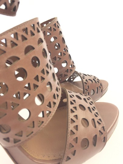 ALAA Ankle Strap Gold Hardware Platform Laser Cut Embellished Brown Sandals