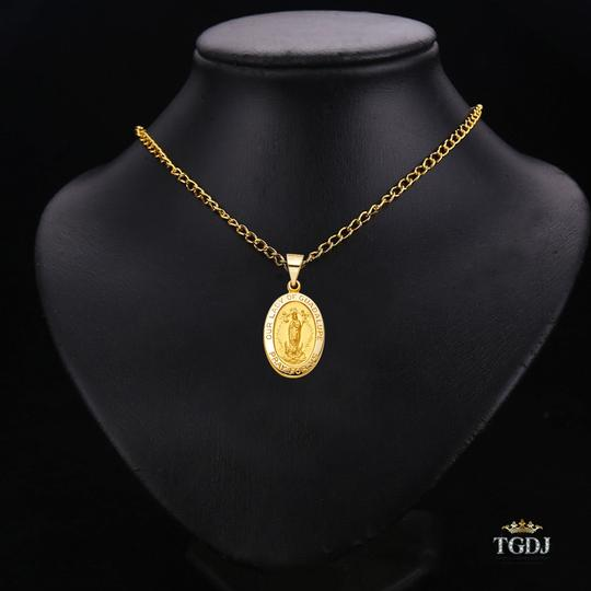 Top Gold & Diamond Jewelry 14K Yellow Gold Religious Guadalupe Pendant