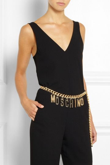 Moschino Black leather Moschino gold-tone letter charm belt