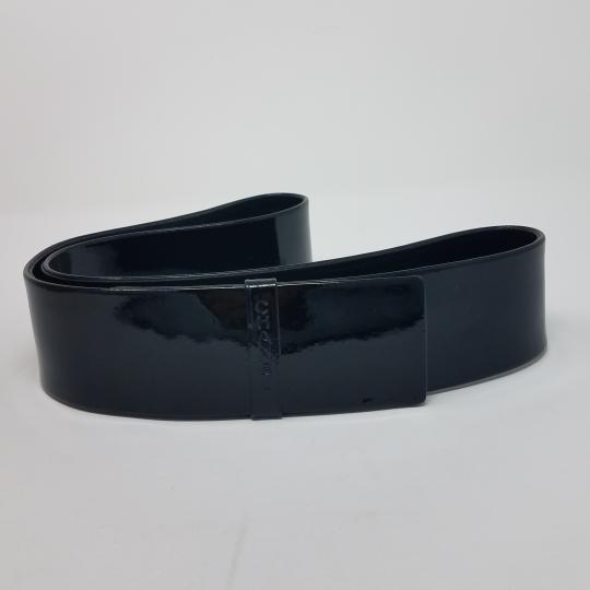 Chanel Black Chanel patent leather logo embellished waist belt
