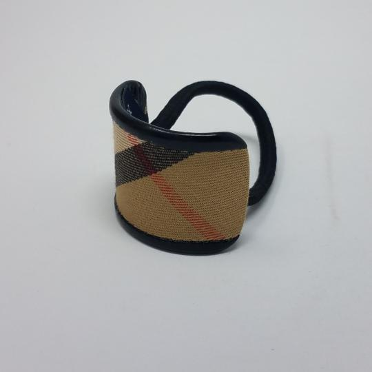 Burberry Camel black multicolor Burberry coated canvas hair tie