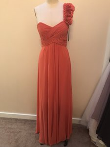 Bari Jay Coral Chiffon and Charmeuse 225 Formal Bridesmaid/Mob Dress Size 8 (M)