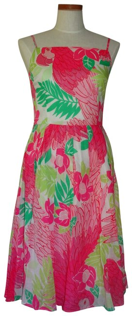 Preload https://item2.tradesy.com/images/lilly-pulitzer-multicolor-ports-of-caw-parrots-summer-mid-length-short-casual-dress-size-8-m-23335281-0-1.jpg?width=400&height=650
