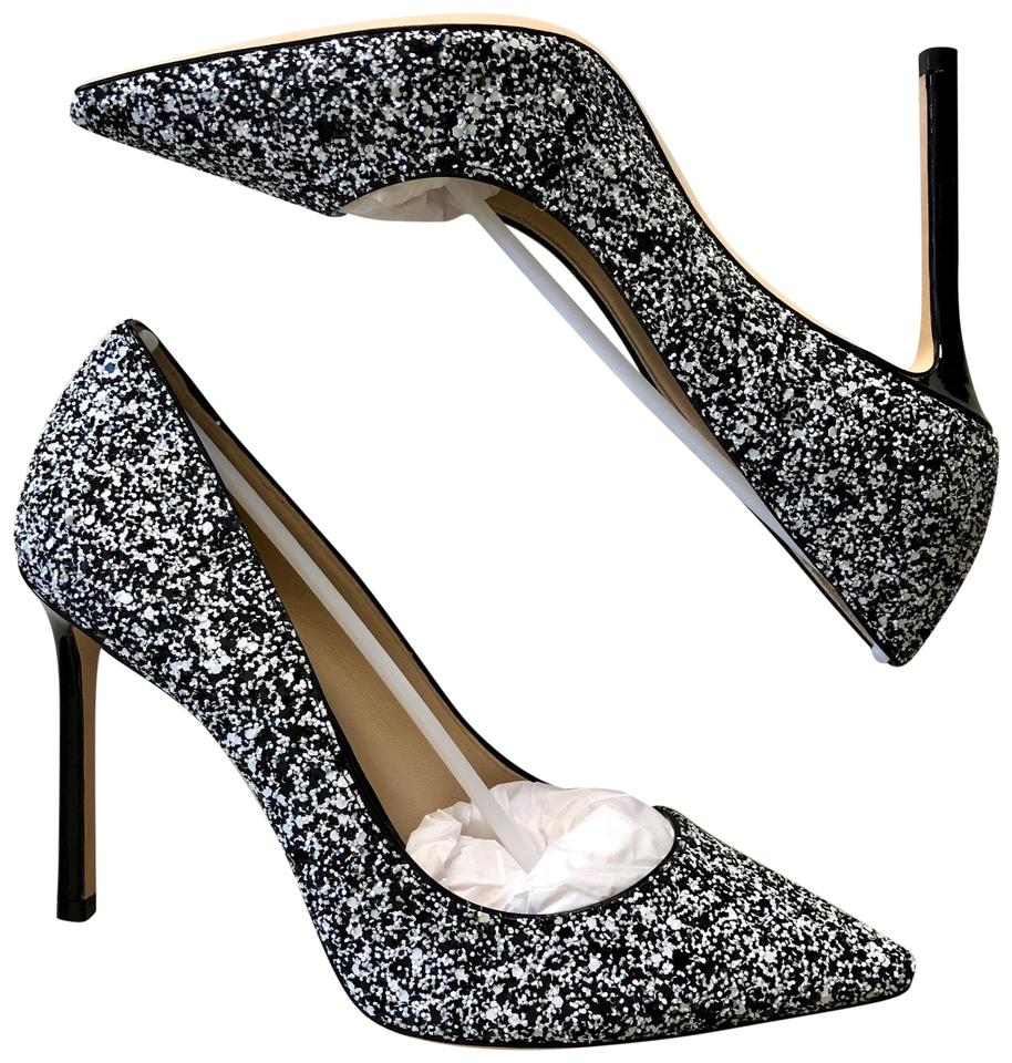 ef7397e3c66d Jimmy Choo Nude Romy 100 Glitter Point Black-white Pumps Size EU 36 ...