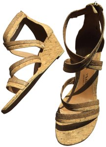 Nina Wedge Cork Leather Wraparound Snakeskin browns Sandals