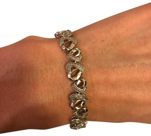 Zales Zales stirling silver diamond alternating hearts bracelet