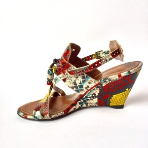 Proenza Schouler Designer Wedges Animal Print Mules Multi-color Sandals