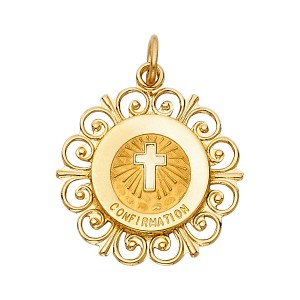 Top Gold & Diamond Jewelry 14K Yellow Gold Religious Confirmation Pendant