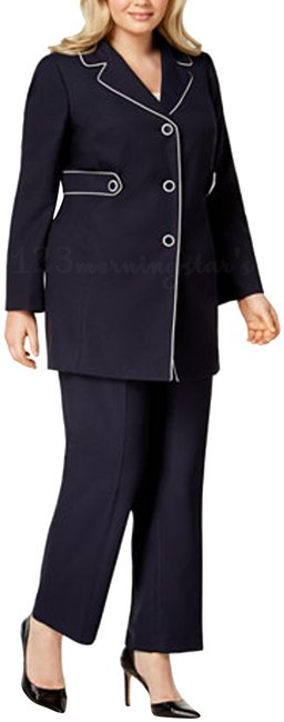 Item - Multi-color Navy-vanilla Ice Piping-trim Style No. 50035375-3yz Pant Suit Size 18 (XL, Plus 0x)