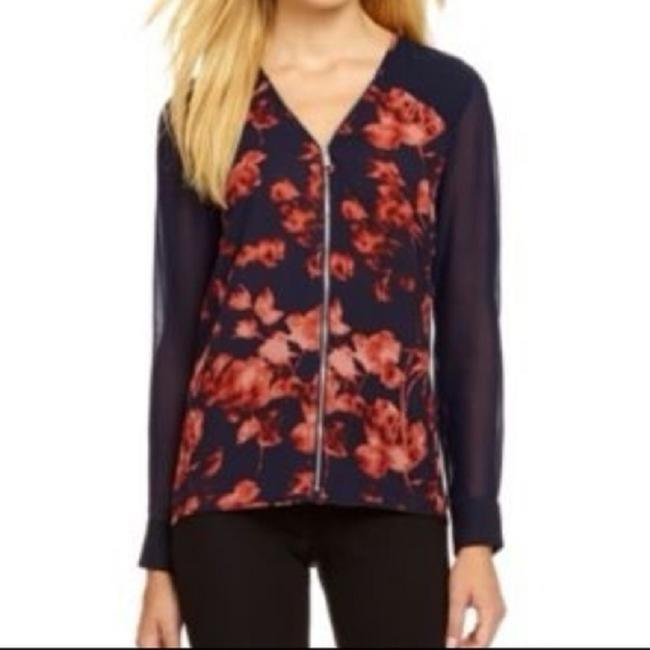 Vince Camuto Floral V-neck Zipper Chiffon Top