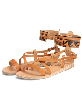 Ancient Greek Sandals Gladiator Strappy Tan Sandals