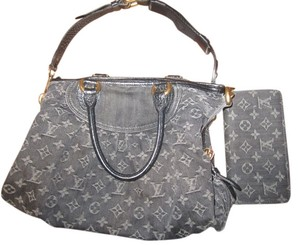 Louis Vuitton Neo Cabby Mm Satchel in Black Monogram Denim