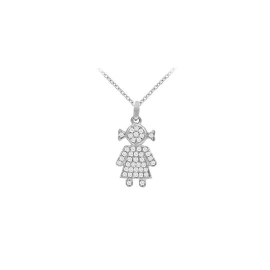 Marco B 925 Sterling Silver Cubic Zirconia Baby Doll Pendant Necklace 0.25 CT
