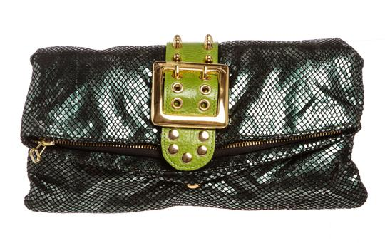 Preload https://item2.tradesy.com/images/be-and-d-lizard-print-green-and-black-leather-clutch-23335526-0-0.jpg?width=440&height=440