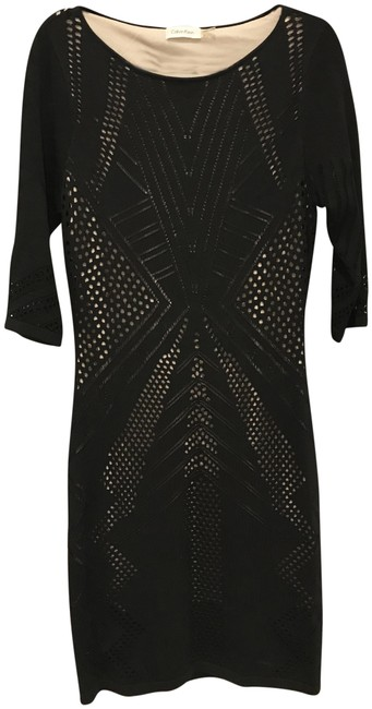 Preload https://item2.tradesy.com/images/calvin-klein-black-nude-pointelle-knit-body-con-sheath-mid-length-night-out-dress-size-12-l-23335546-0-1.jpg?width=400&height=650