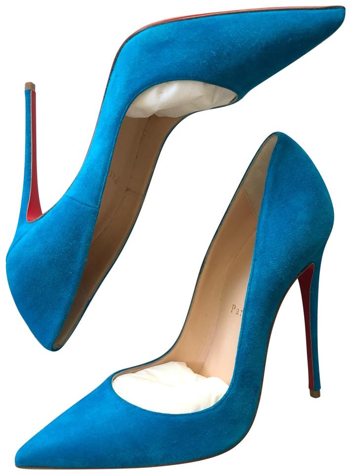 865a3a45603b Christian Louboutin Blue Pigalle Follies Suede 100mm Red Sole Pumps ...