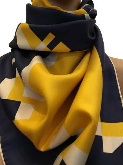 Preload https://item5.tradesy.com/images/balmain-white-navy-and-yellow-scarfwrap-23335559-0-4.jpg?width=440&height=440