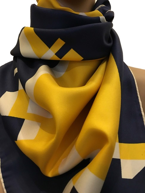 Item - White Navy and Yellow Scarf/Wrap
