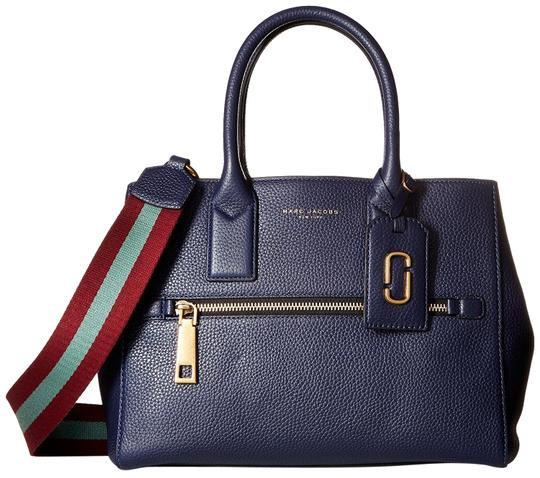 Marc Jacobs Webbing Strap Vino Multi Strap Gotham Pebbled Leather Satchel in Midnight Blue
