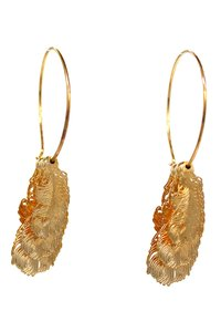 Ocean Fashion Fashion feather gold earrings