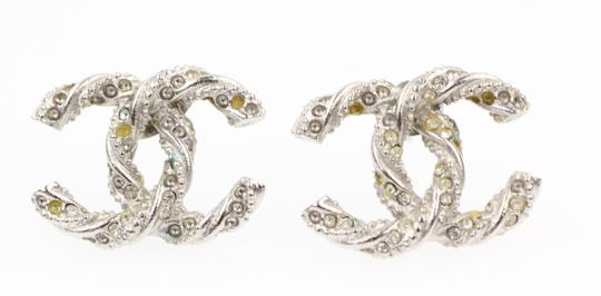 Preload https://img-static.tradesy.com/item/23335632/chanel-silver-pave-crystal-embossed-cc-earrings-0-2-540-540.jpg