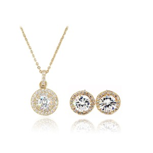 Ocean Fashion Gold Fashion Pendant Crystal Earrings Necklace Set