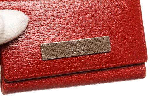 Gucci Gucci Red Leather 6 Key Holder