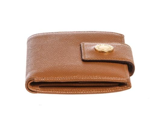 BVLGARI Bvlgari Brown Leather Compact Bifold Wallet
