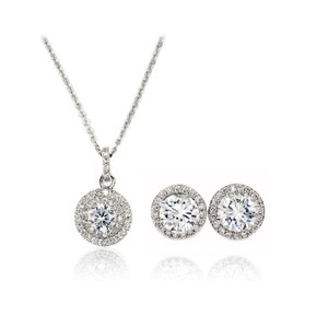 Ocean Fashion Silver Fashion Pendant Crystal Earrings Necklace Set