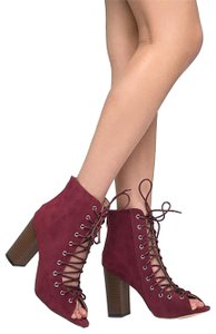 J. Adams Women High Heel Stylish Peep Toe Heel Chunky Heel Burgundy Suede Boots