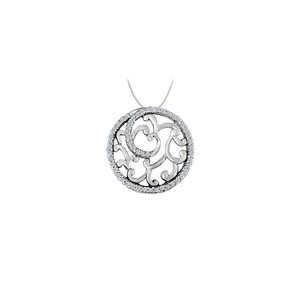 Marco B Cubic Zirconia Fancy Circle Fashion Pendant in Sterling Silver 0.50 CT
